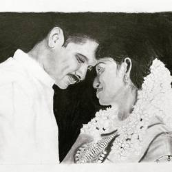 sketching of couples, 11 x 17 inch, arjun v nair,portrait drawings,thick paper,graphite pencil,11x17inch,GAL0560414154
