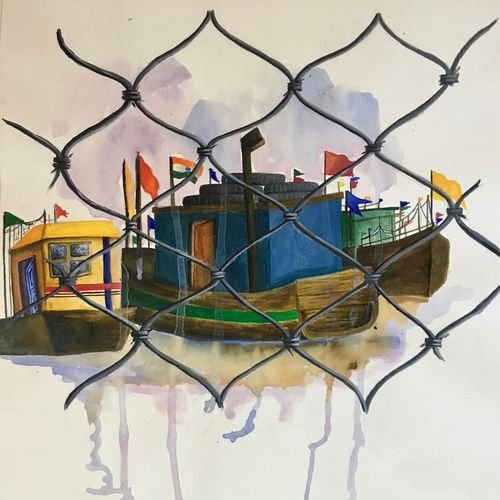 docks, 22 x 15 inch, naomi fernandes,landscape paintings,paintings for dining room,paintings for living room,paintings for bedroom,paintings for office,paintings for hotel,paintings for school,paintings for living room,paintings for hotel,cartridge paper,acrylic color,22x15inch,GAL0597614157