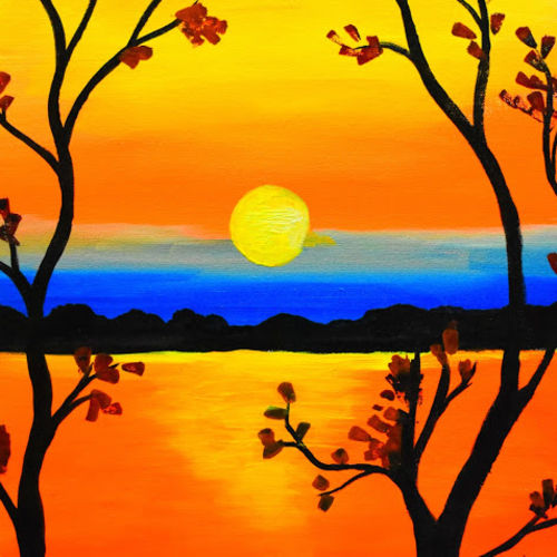 sunset, 16 x 20 inch, ritika singh,paintings,landscape paintings,modern art paintings,nature paintings,illustration paintings,paintings for living room,paintings for bedroom,paintings for office,paintings for hotel,canvas,acrylic color,mixed media,natural color,16x20inch,GAL0598414177Nature,environment,Beauty,scenery,greenery,sunset,tree,sea,water