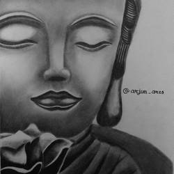 sketching of buddha, 12 x 17 inch, arjun v nair,paintings for living room,portrait drawings,paintings for living room,thick paper,graphite pencil,12x17inch,GAL0560414181