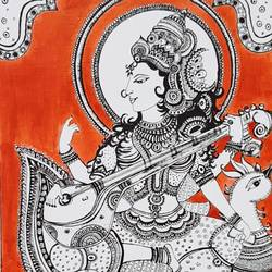 maa saraswati, 17 x 12 inch, parul srivastava,folk art paintings,fabriano sheet,ink color,17x12inch,GAL0128914183
