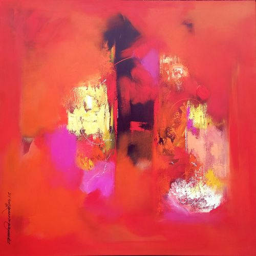 red shade , 36 x 36 inch, dnyaneshwar  bembade ,abstract paintings,paintings for office,paintings for office,canvas,acrylic color,36x36inch,GAL046414194