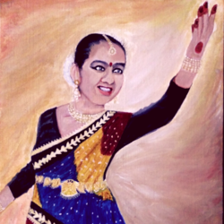 portrait of a young kathak dancer, 16 x 20 inch, aishwarya soman,paintings,portrait paintings,paintings for living room,paintings for bedroom,canvas board,acrylic color,16x20inch,GAL0587214199