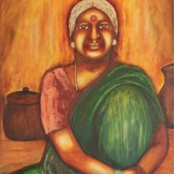 ajji's goodies, 26 x 30 inch, mallika bulusu,figurative paintings,paintings for dining room,canvas,mixed media,26x30inch,GAL05811420