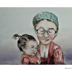 motherhood at the foothills of sikkim , 10 x 15 inch, kush boradia,paintings,portrait paintings,rice paper,watercolor,10x15inch,GAL0600014202