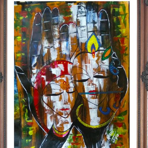 beautiful radha krishna  on palm, 20 x 29 inch, nidhi wadhwa,paintings,abstract paintings,religious paintings,radha krishna paintings,paintings for dining room,paintings for living room,paintings for office,canson paper,acrylic color,20x29inch,GAL0568714207,radhakrishna,love,pece,lordkrishna,lordradha,peace,radha,krishna,devotion,couple