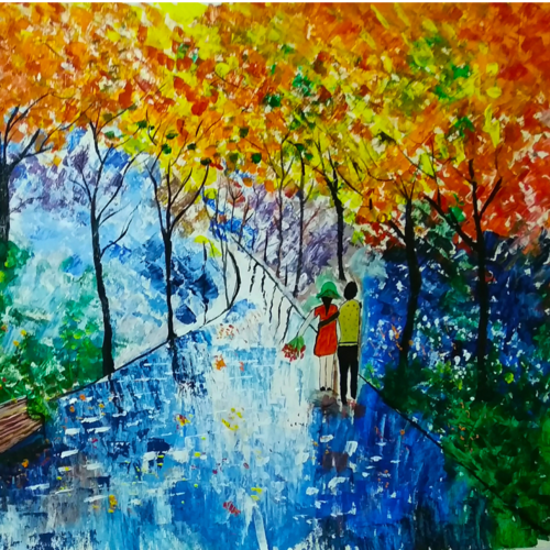 beautiful couple in a rainy night - oil  with knife, 29 x 20 inch, nidhi wadhwa,nature paintings,paintings for dining room,paintings for living room,paintings for bedroom,paintings for office,canson paper,acrylic color,oil,29x20inch,GAL0568714209Nature,environment,Beauty,scenery,greenery