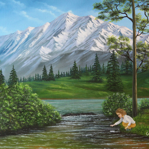 a girl playing in landscape, 25 x 20 inch, goutami mishra,paintings,landscape paintings,baby paintings,paintings for living room,paintings for bedroom,paintings for kids room,paintings for hotel,paintings for school,canvas,oil,25x20inch,GAL046514214
