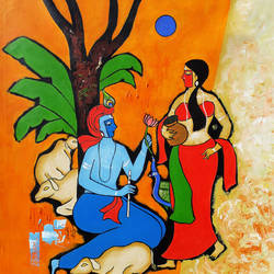 radha krishna in love , 29 x 29 inch, chetan katigar,figurative paintings,religious paintings,art deco paintings,expressionist paintings,impressionist paintings,radha krishna paintings,contemporary paintings,paintings for living room,paintings for bedroom,paintings for hotel,canvas,acrylic color,29x29inch,GAL026614215,love,radha,krishna,radhakrishna,lord,flute,music,lordkrishna
