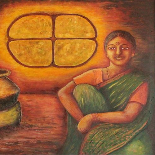 the simplicity, 34 x 22 inch, mallika bulusu,figurative paintings,paintings for dining room,canvas,mixed media,34x22inch,GAL05811422