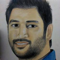 ms dhoni, 12 x 15 inch, prikesh ravi,paintings,portrait paintings,paintings for bedroom,hardboard,acrylic color,12x15inch,GAL0184014223