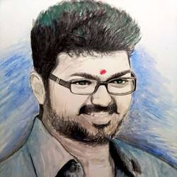 vijay, 12 x 15 inch, prikesh ravi,paintings,portrait paintings,photorealism paintings,realism paintings,paintings for living room,paintings for bedroom,paintings for hotel,hardboard,acrylic color,12x15inch,GAL0184014226
