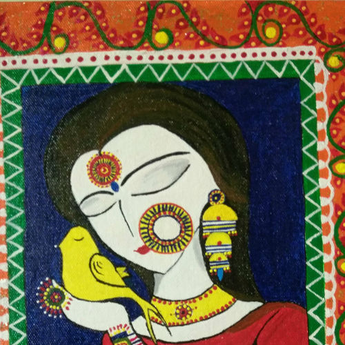 apsara, 10 x 12 inch, pallavi muley,paintings,portrait paintings,paintings for living room,paintings for living room,canvas,acrylic color,10x12inch,GAL0602814239