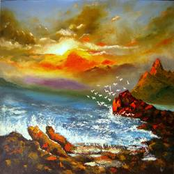 a new morning, 23 x 35 inch, ravi patel,paintings,landscape paintings,nature paintings,paintings for dining room,paintings for living room,paintings for bedroom,paintings for office,paintings for bathroom,paintings for hotel,paintings for kitchen,paintings for school,paintings for hospital,canvas,oil,23x35inch,GAL0578914242Nature,environment,Beauty,scenery,greenery