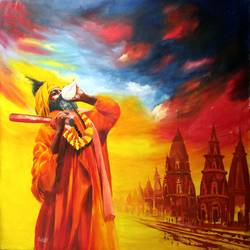 kumbha the symbol of faith, 35 x 29 inch, ravi patel,paintings,figurative paintings,religious paintings,realism paintings,contemporary paintings,paintings for dining room,paintings for living room,paintings for bedroom,paintings for hotel,paintings for hospital,canvas,oil,35x29inch,GAL0578914250