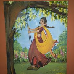 girl on a swing under the amaltas, 16 x 12 inch, parul mathur,paintings,figurative paintings,paintings for dining room,paintings for living room,paintings for bedroom,paintings for office,paintings for hotel,paintings for kitchen,paintings for school,paintings for hospital,paintings for dining room,paintings for living room,paintings for bedroom,paintings for office,paintings for hotel,paintings for kitchen,paintings for school,paintings for hospital,paper,oil,16x12inch,GAL0602514252
