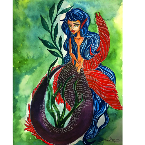 sea maiden, 8 x 12 inch, anisha mary,paintings,conceptual paintings,still life paintings,portrait paintings,nature paintings,art deco paintings,animal paintings,paintings for bedroom,paintings for bedroom,drawing paper,watercolor,8x12inch,GAL0603714256Nature,environment,Beauty,scenery,greenery