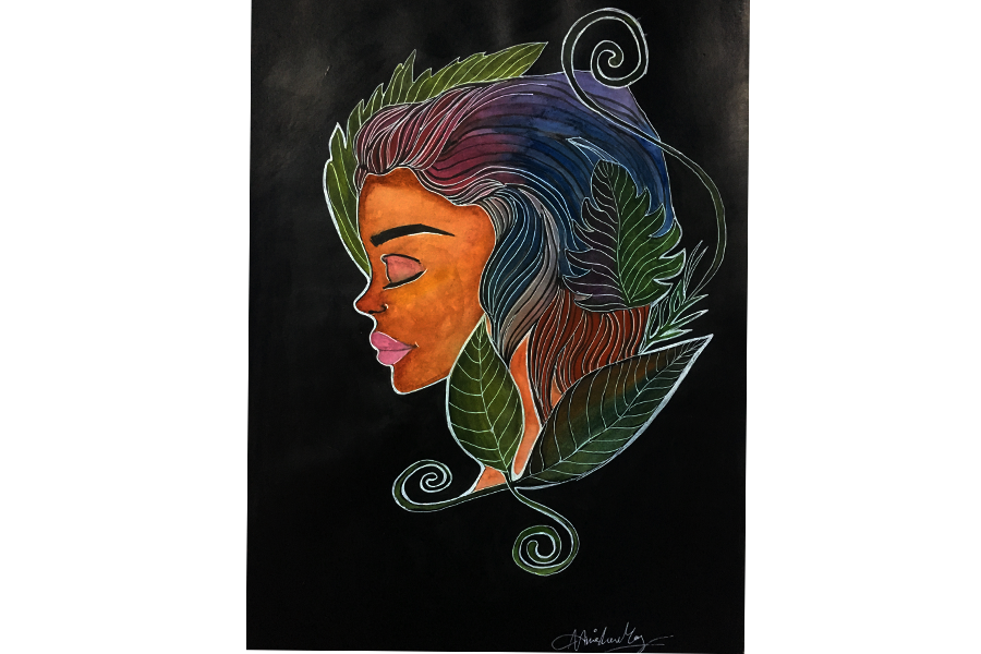 mother nature, 8 x 12 inch, anisha mary,paintings,conceptual paintings,still life paintings,portrait paintings,nature paintings,paintings for bedroom,paintings for bedroom,drawing paper,acrylic color,watercolor,8x12inch,GAL0603714259Nature,environment,Beauty,scenery,greenery