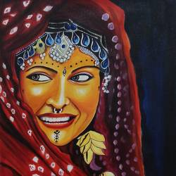 kashmir dulhan, 18 x 24 inch, sandhya kumari,figurative paintings,photorealism paintings,realistic paintings,paintings for dining room,paintings for living room,paintings for bedroom,paintings for office,paintings for kids room,paintings for hotel,paintings for hospital,canvas,acrylic color,18x24inch,GAL0365914260