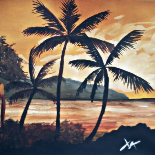 sunset beach, 8 x 12 inch, christopher raymond,landscape paintings,thick paper,poster color,8x12inch,GAL0573514271