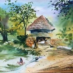 untitled, 21 x 14 inch, dipankar  biswas,paintings,landscape paintings,paintings for living room,paintings for living room,handmade paper,watercolor,21x14inch,GAL0293214275