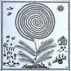 warli arts with round tree , 11 x 11 inch, harpreet kaur punn,figurative paintings,warli paintings,handmade paper,acrylic color,11x11inch,GAL0599714278