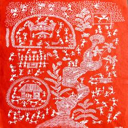 warli arts with red shade , 11 x 15 inch, harpreet kaur punn,figurative paintings,handmade paper,acrylic color,11x15inch,GAL0599714279