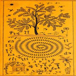 warli painting of big tree, 10 x 21 inch, harpreet kaur punn,figurative paintings,warli paintings,handmade paper,acrylic color,10x21inch,GAL0599714280