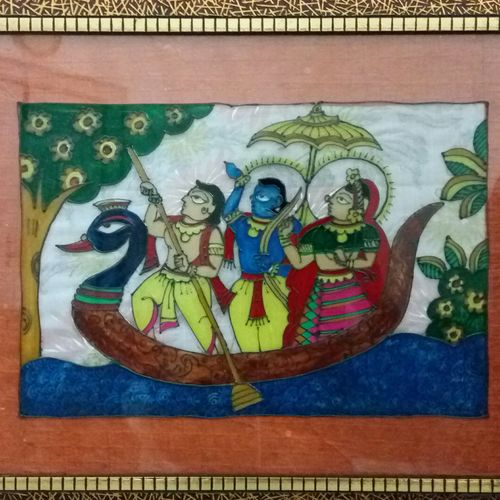 boat ride, 18 x 14 inch, deepti agrawal,paintings,folk art paintings,figurative paintings,religious paintings,paintings for living room,paintings for hotel,acrylic glass,mixed media,18x14inch,GAL0596814284