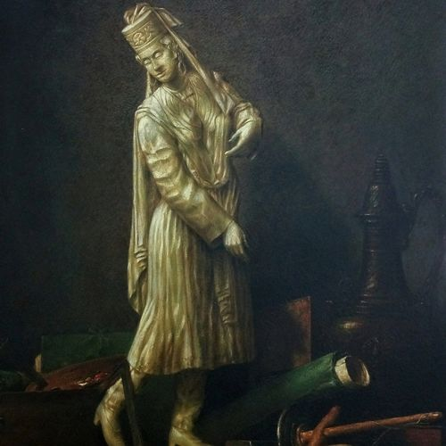 woman statue with chardin, 20 x 30 inch, sanjay  sarfare ,paintings,figurative paintings,still life paintings,realism paintings,realistic paintings,paintings for dining room,paintings for living room,paintings for bedroom,paintings for office,paintings for hotel,paintings for school,thick paper,poster color,20x30inch,GAL0160714286