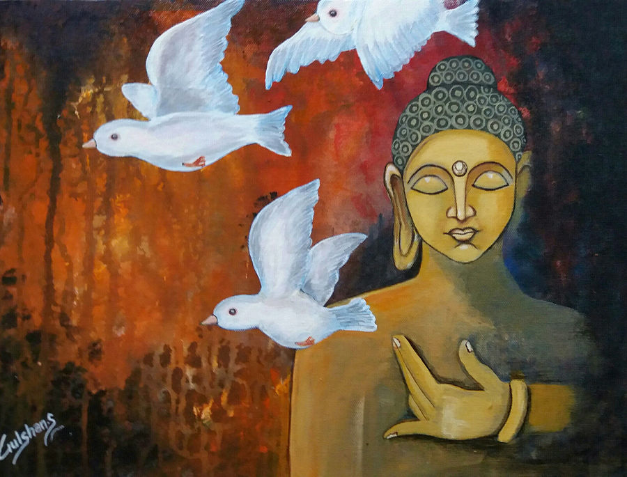 lord buddha -freedom with buddha, 12 x 16 inch, gulshan sangtani,buddha paintings,paintings for living room,paintings for office,canvas,acrylic color,12x16inchreligious,peace,meditation,meditating,gautam,goutam,buddha,birds,flying,brown,giving blessing,idol,GAL05921429
