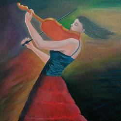 harmony tunes, 18 x 18 inch, roshan purohit,paintings,pop art paintings,paintings for living room,canvas board,oil,18x18inch,GAL0605014291