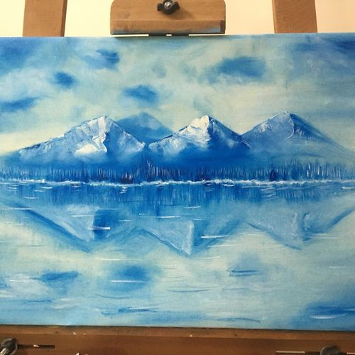 blue mountains, 15 x 24 inch, rohit vadhwana,paintings,landscape paintings,nature paintings,paintings for living room,paintings for bedroom,paintings for office,canvas,oil,15x24inch,GAL0605314297Nature,environment,Beauty,scenery,greenery