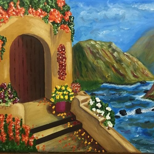 a house in nature, 24 x 15 inch, rohit vadhwana,landscape paintings,nature paintings,paintings for dining room,paintings for living room,paintings for bedroom,paintings for office,paintings for hotel,canvas,oil,24x15inch,GAL0605314299Nature,environment,Beauty,scenery,greenery