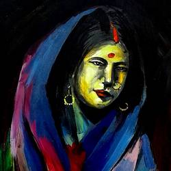 ganga - varanasi lady, 14 x 11 inch, girish chandra vidyaratna,landscape paintings,paintings for dining room,paintings,ivory sheet,acrylic color,14x11inch,GAL036143