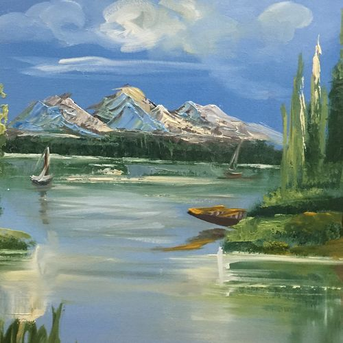 bright day, 24 x 15 inch, rohit vadhwana,landscape paintings,nature paintings,paintings for dining room,paintings for living room,paintings for bedroom,paintings for office,paintings for dining room,paintings for living room,paintings for bedroom,paintings for office,canvas,oil,24x15inch,GAL0605314300Nature,environment,Beauty,scenery,greenery
