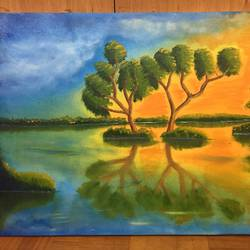 beautiful evening, 24 x 15 inch, rohit vadhwana,paintings,landscape paintings,nature paintings,paintings for dining room,paintings for living room,paintings for bedroom,paintings for office,paintings for dining room,paintings for living room,paintings for bedroom,paintings for office,canvas,oil,24x15inch,GAL0605314301Nature,environment,Beauty,scenery,greenery,tree,water