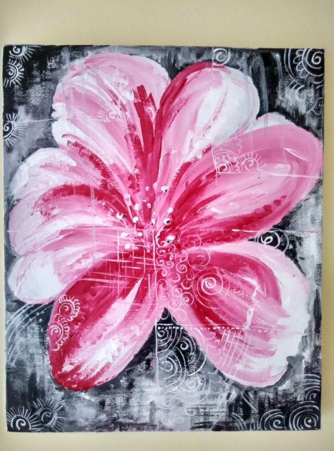 abstract  flower, 10 x 12 inch, deepa  p,paintings,abstract paintings,flower paintings,conceptual paintings,canvas,acrylic color,10x12inch,GAL0600614315