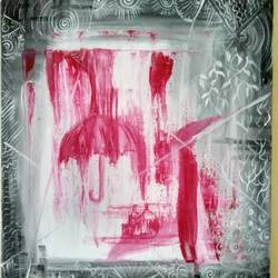 abstract  shades n rain in pink, 10 x 12 inch, deepa  p,paintings,abstract paintings,modern art paintings,conceptual paintings,canvas,acrylic color,10x12inch,GAL0600614316