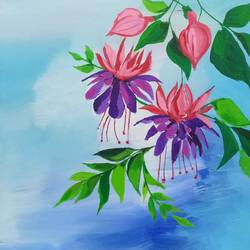 flower blooming on tree, 12 x 12 inch, richa pamnani,flower paintings,paintings for dining room,paintings for bedroom,paintings for kids room,canvas,acrylic color,12x12inch,GAL0606314319