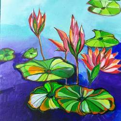 flower with big leaf , 12 x 12 inch, richa pamnani,flower paintings,paintings for dining room,paintings for living room,paintings for bedroom,paintings for office,paintings for kitchen,canvas,acrylic color,12x12inch,GAL0606314320