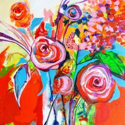 bloom rose , 12 x 12 inch, richa pamnani,flower paintings,paintings for dining room,paintings for living room,paintings for bedroom,paintings for office,paintings for bathroom,paintings for kids room,paintings for hotel,paintings for hospital,canvas,acrylic color,12x12inch,GAL0606314322