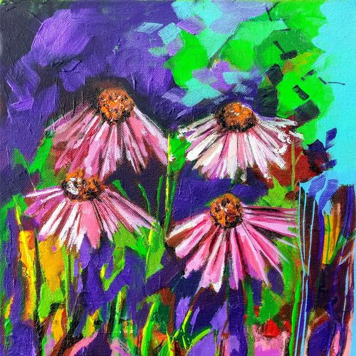 bloom series of pink and white flower , 12 x 12 inch, richa pamnani,flower paintings,paintings for dining room,paintings for living room,paintings for bedroom,paintings for office,paintings for bathroom,paintings for kids room,paintings for hotel,paintings for kitchen,paintings for school,paintings for hospital,canvas,acrylic color,12x12inch,GAL0606314323