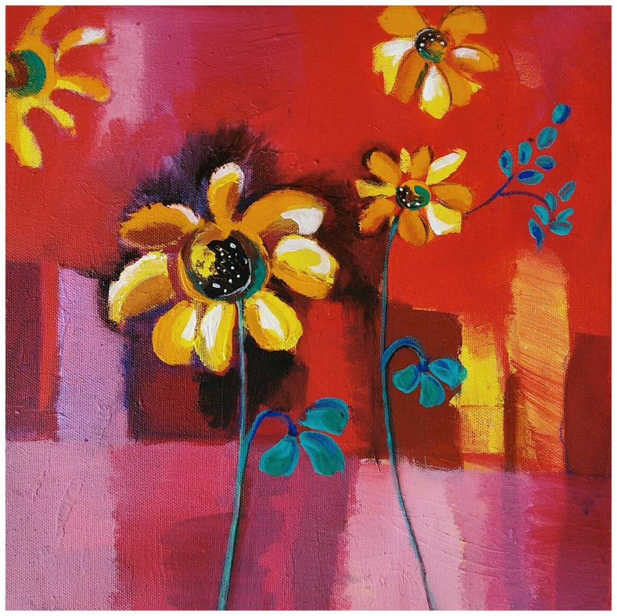 bloom shaded yellow flower , 12 x 12 inch, richa pamnani,flower paintings,paintings for dining room,paintings for living room,paintings for bedroom,paintings for office,paintings for bathroom,paintings for kids room,paintings for hotel,paintings for kitchen,paintings for school,paintings for hospital,canvas,acrylic color,12x12inch,GAL0606314329