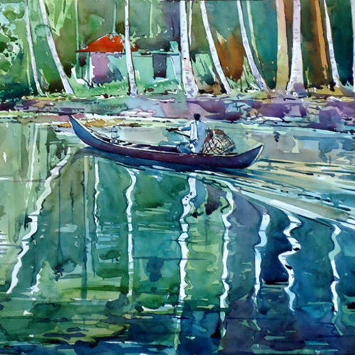 life journey, 15 x 21 inch, raji p,landscape paintings,paintings for living room,fabriano sheet,watercolor,15x21inch,GAL05901433