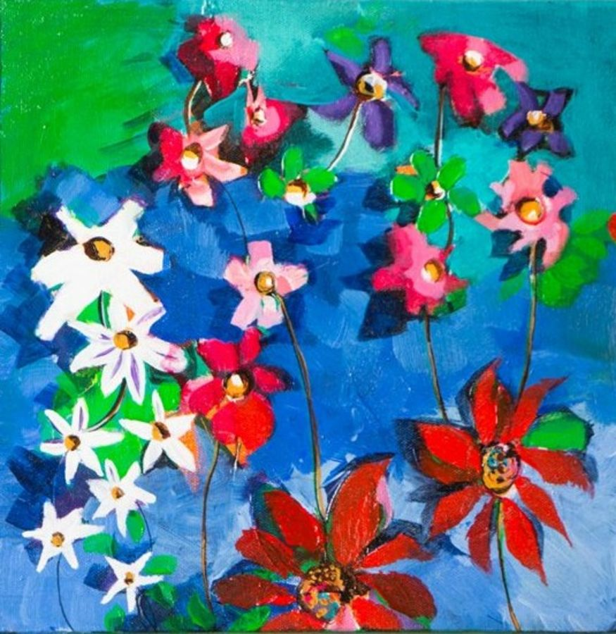 mix colour flower , 12 x 12 inch, richa pamnani,flower paintings,paintings for dining room,paintings for living room,paintings for bedroom,paintings for office,paintings for bathroom,paintings for kids room,paintings for hotel,paintings for kitchen,paintings for school,paintings for hospital,canvas,acrylic color,12x12inch,GAL0606314333
