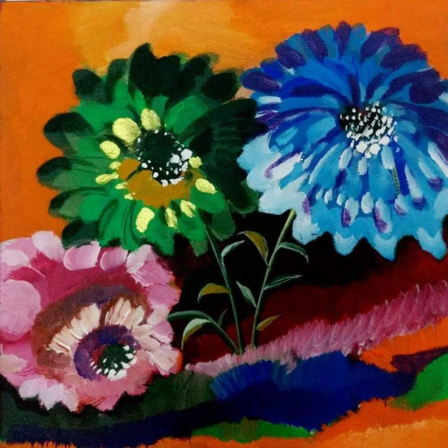 bloom flower, 12 x 12 inch, richa pamnani,flower paintings,paintings for dining room,paintings for living room,paintings for bedroom,paintings for office,paintings for bathroom,paintings for kids room,paintings for hotel,paintings for kitchen,paintings for school,paintings for hospital,canvas,acrylic color,12x12inch,GAL0606314336