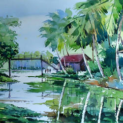 kuttanad, 15 x 21 inch, raji p,landscape paintings,paintings for dining room,fabriano sheet,watercolor,15x21inch,GAL05901434