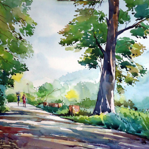 morning, 15 x 21 inch, raji p,landscape paintings,paintings for living room,fabriano sheet,watercolor,15x21inch,GAL05901435