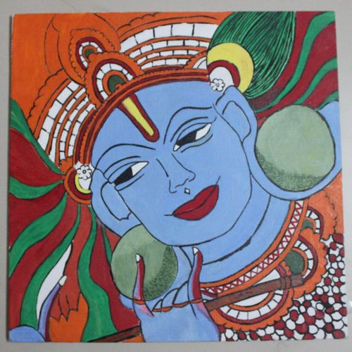 mural look krishna, 12 x 12 inch, preeja dheeraj,radha krishna paintings,paintings for living room,paintings for office,paintings for hotel,paintings for living room,paintings for office,paintings for hotel,kerala murals painting,canvas,acrylic color,poster color,12x12inch,GAL0605614356,krishna,lord,love,lordkrishna,flute,music,mural krishna